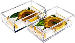 LAOSGE Napkin Holder 2 Pieces, Acrylic Guest Towel Holders Napkin Holders for Table Kitchen Bathroom, 9x5.5x2.5 Inch
