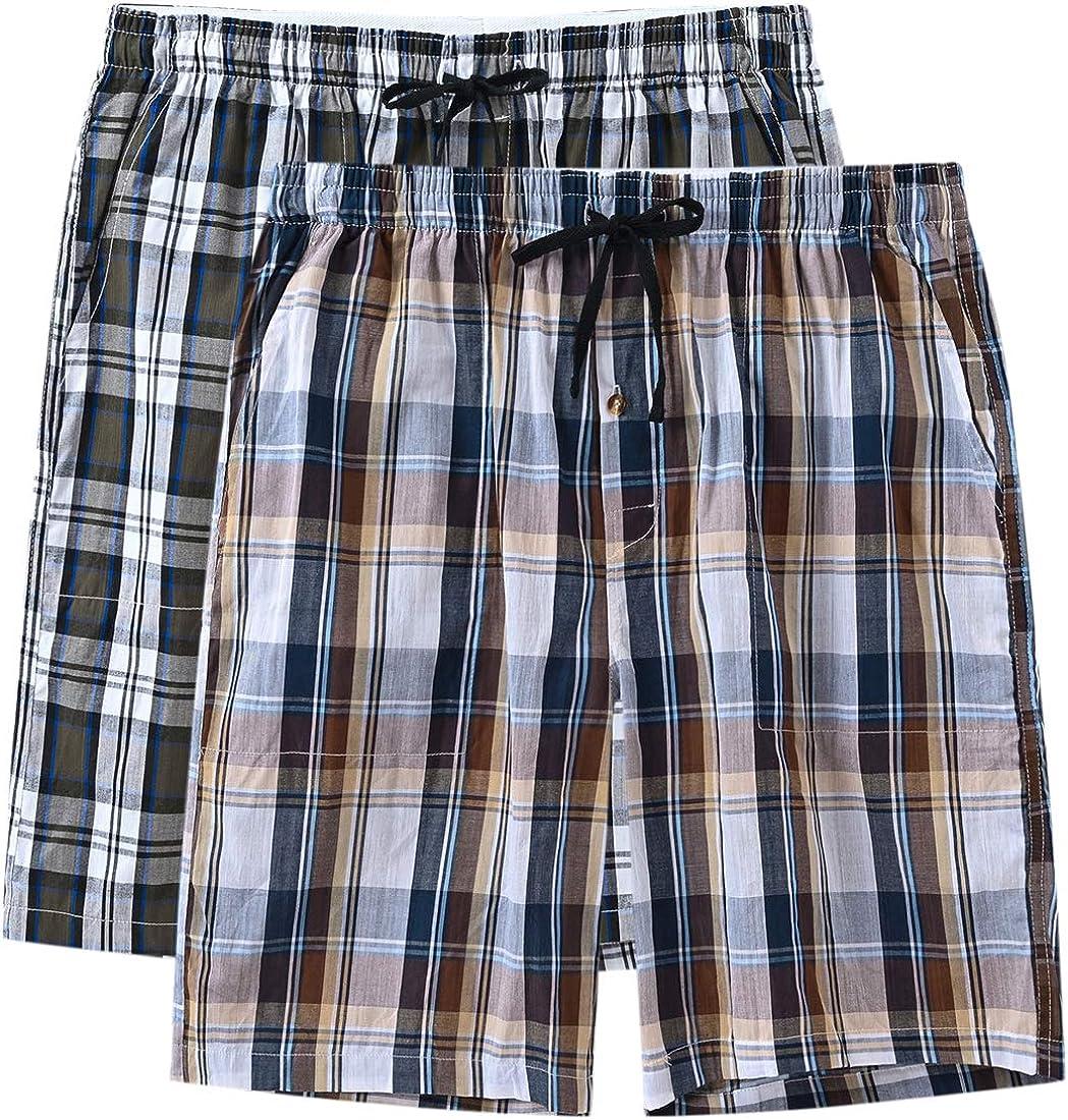 JINSHI Men's 2 Pack Pajama Shorts Elastic Waist Lounge Sleep Shorts with Pockets