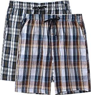 MoFiz Men's Cotton Pyjama Lounge Shorts Checked Button Fly Pyjama Bottoms 2 Pack