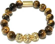 Genuine Tiger Eye Stone Bead Stretchy Elastic Bracelet with Gold Tone Faceted Accents, 8mm, Friendship, Couples