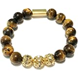 Genuine Tiger Eye Stone Beads Stretchy Elastic Bracelet with Gold Tone Faceted Accent Beads, 8mm, Unisex, for Friendship, Couples, Teens, by Big Cat Rescue