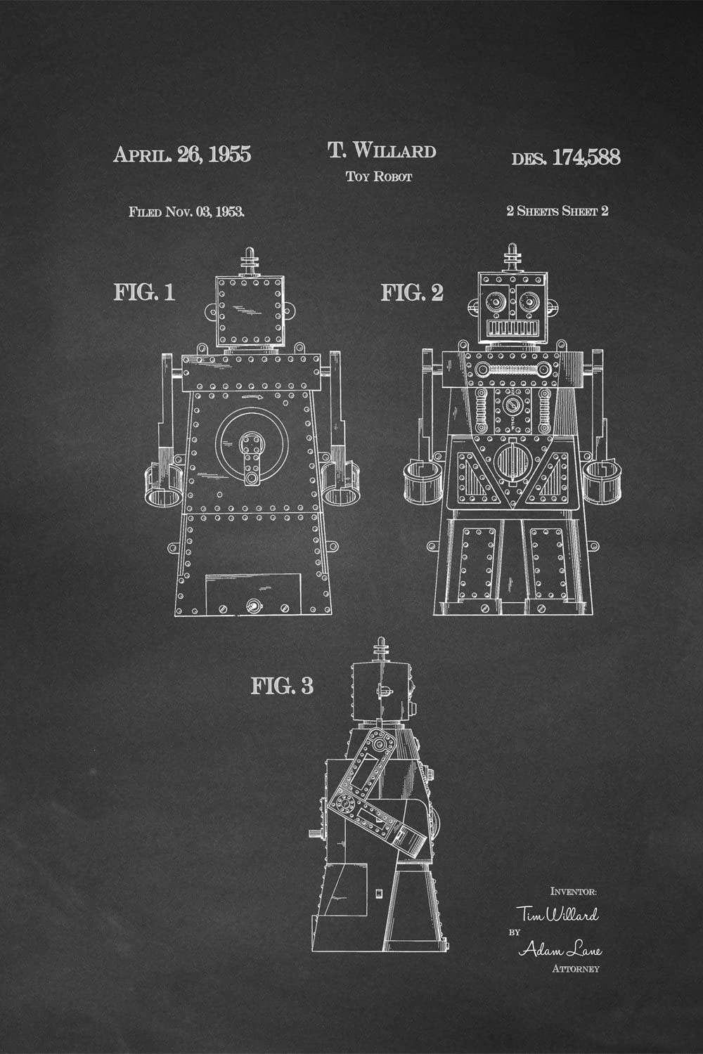 JP London Heavyweight Prepasted Jetsons Rosie Robot Removable Vintage Chalkboard Patent Art at 36 in by 24 in SPMURJSCLT08