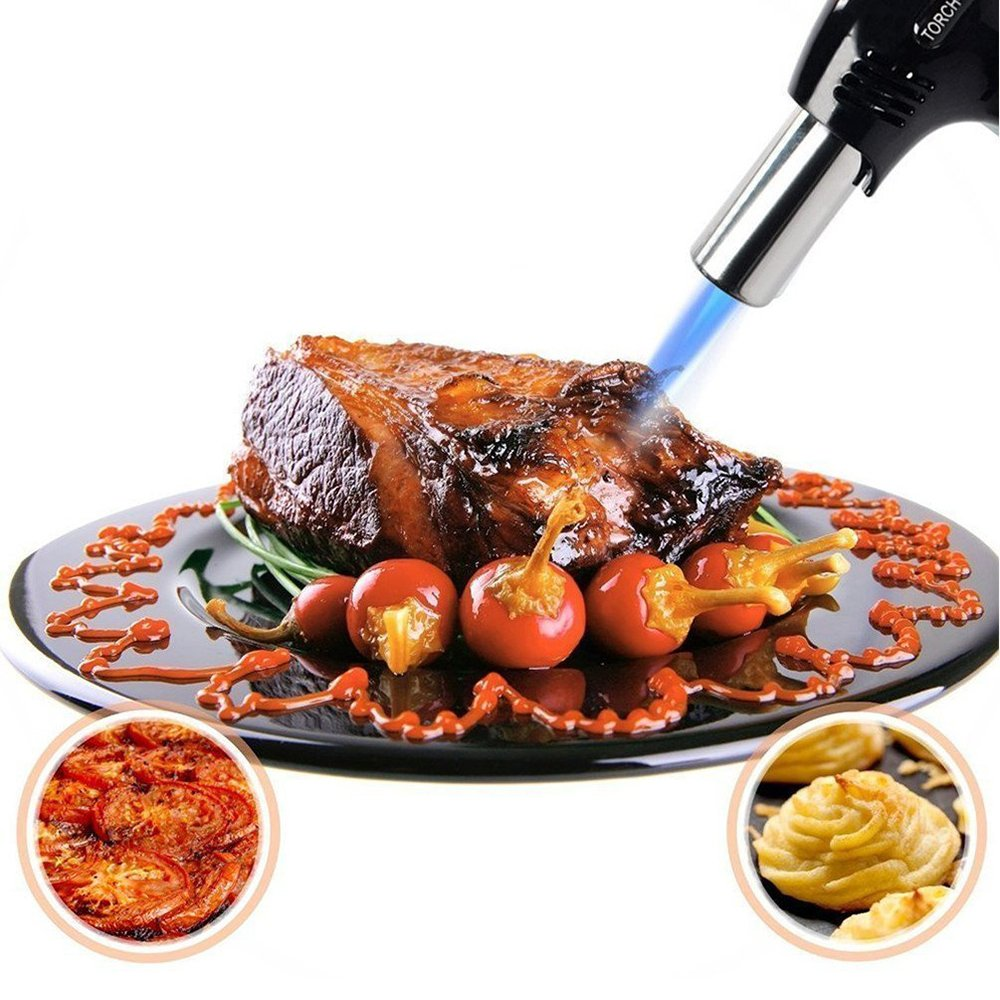 AMRIU GF-879 Micro Butane Torch Lighter, Refillable Kitchen Blow Torch with Safety Lock & Adjustable Flame for Creme Brulee, Meat, Seafood BBQ and Baking