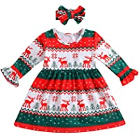 2pcs Baby Christmas Dress, Vinjeely Toddler Girls Deer Stripe Princess Party Dress