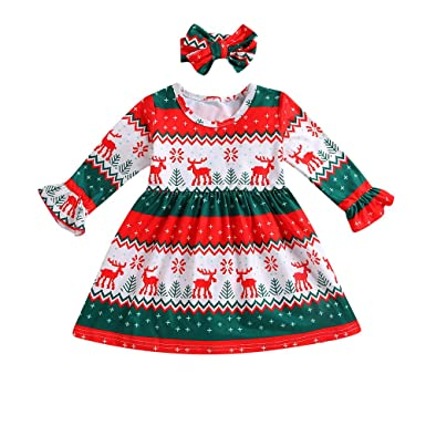 Christmas Toddler Kids Baby Girl Deer Stripe Princess Party Dress Clothes Outfit