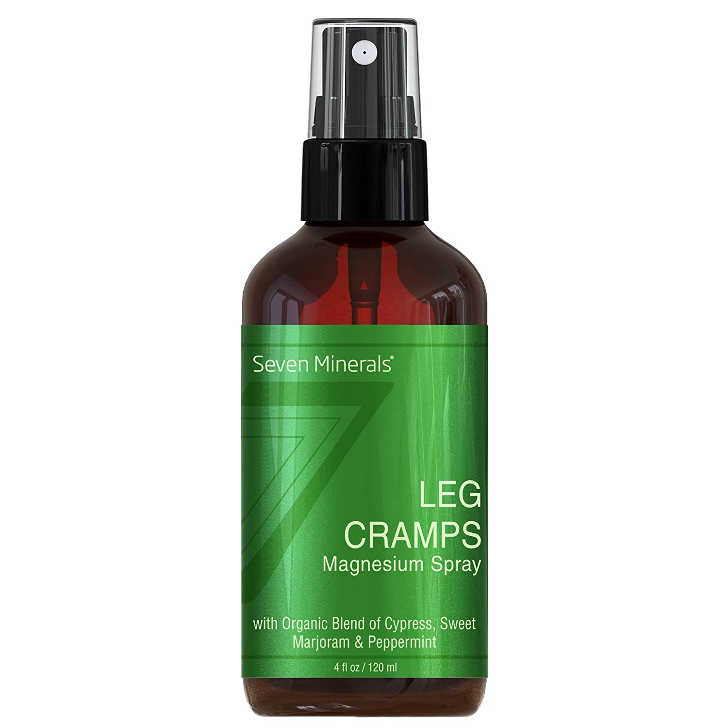 All Natural Magnesium Leg Cramp Pain Relief Spray with USDA Organic  Cypress, Sweet Marjoram & Peppermint Oils, USA Made (4 fl oz /120ml)