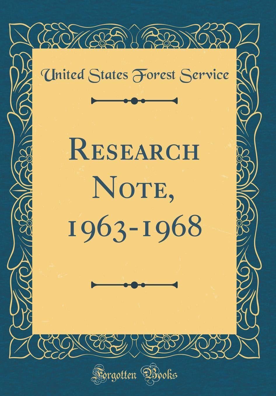 Research Note, 1963-1968 (Classic Reprint) ebook