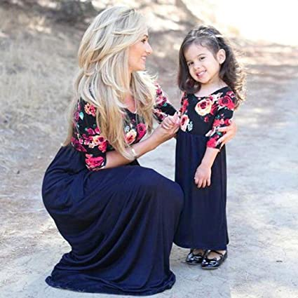 e66f2631405ca WensLTD Family Matching Clothes Mother Daughter Parent-Child Half Sleeve  Floral Maxi Long Dress