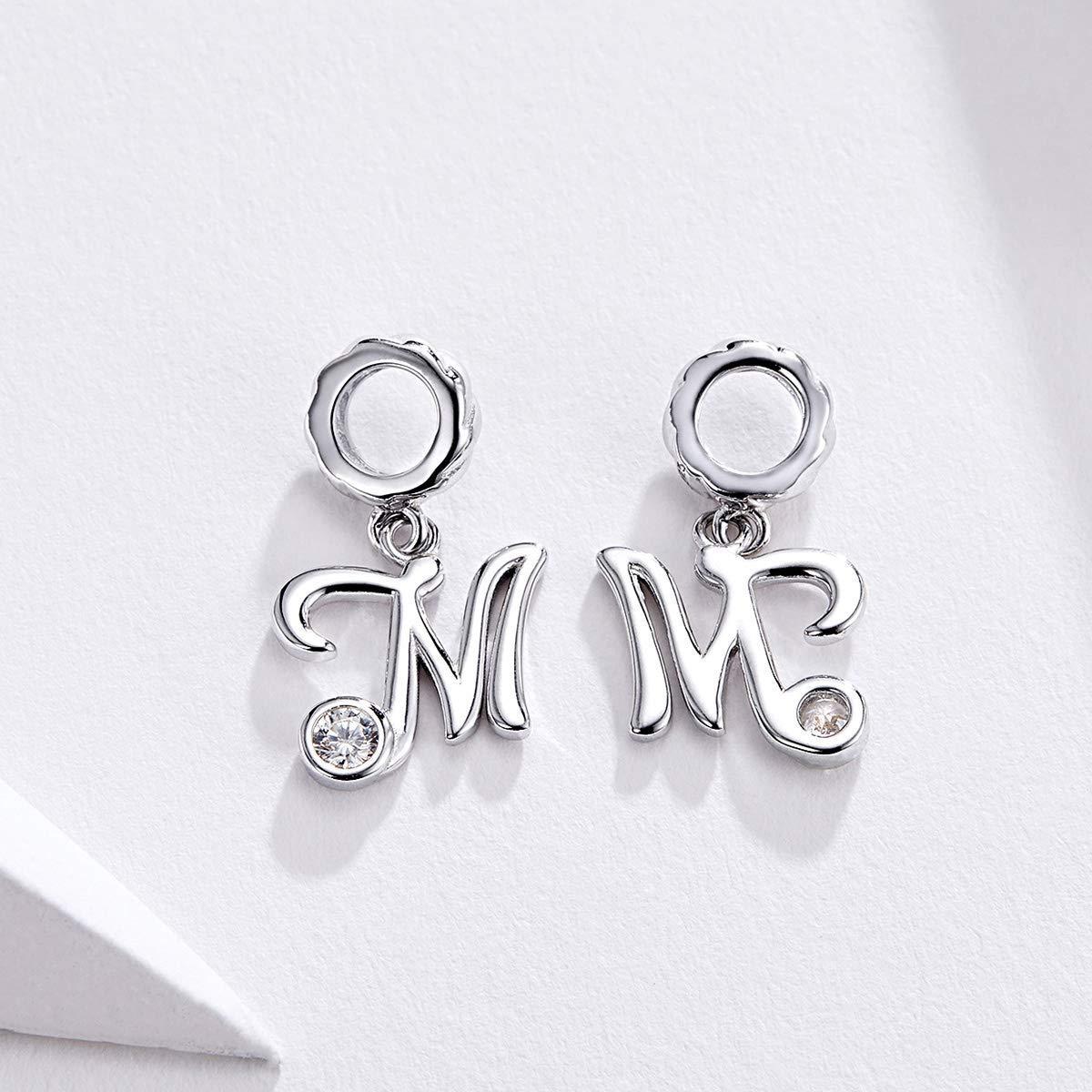 CHENGMEN Pendentif Lettre de lalphabet A-Z avec zircone cubique Transparent Compatible avec Bracelets europ/éens