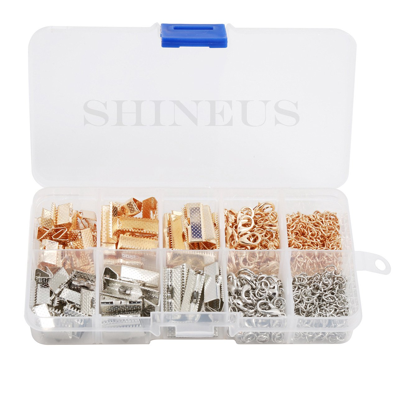 Braccialetto a nastro segnalibro kit Pinch terminali chiusure a moschettone con anellini e catena Extender 370/pezzi