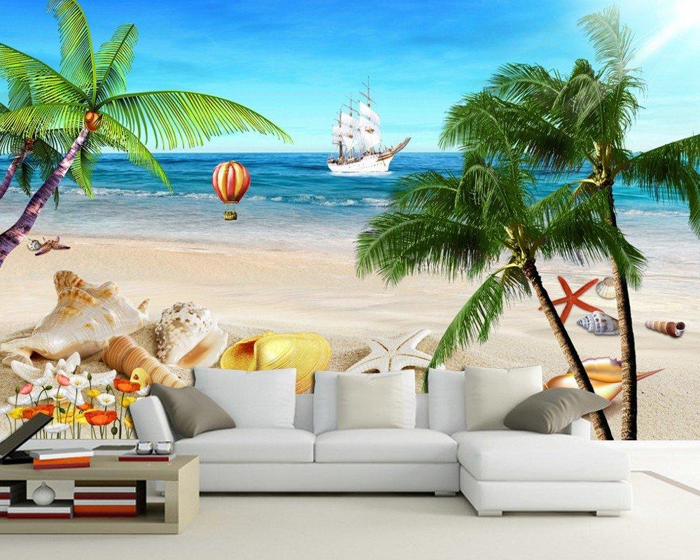 3D海ココナッツグローブフレッシュビーチシーンのテレビの背景壁画リビングルーム壁紙装飾壁画 カスタマイズサイズ シルク生地 Wapel 250X160Cm(98.43X62.99 In) B07DK56VMD 250x160cm(98.43x62.99 in)