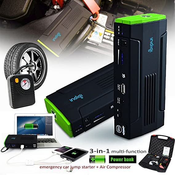 Indigi® 12800 mAh Power Bank iPhone Tablet portátil cámara salto de arranque emergencia para coche