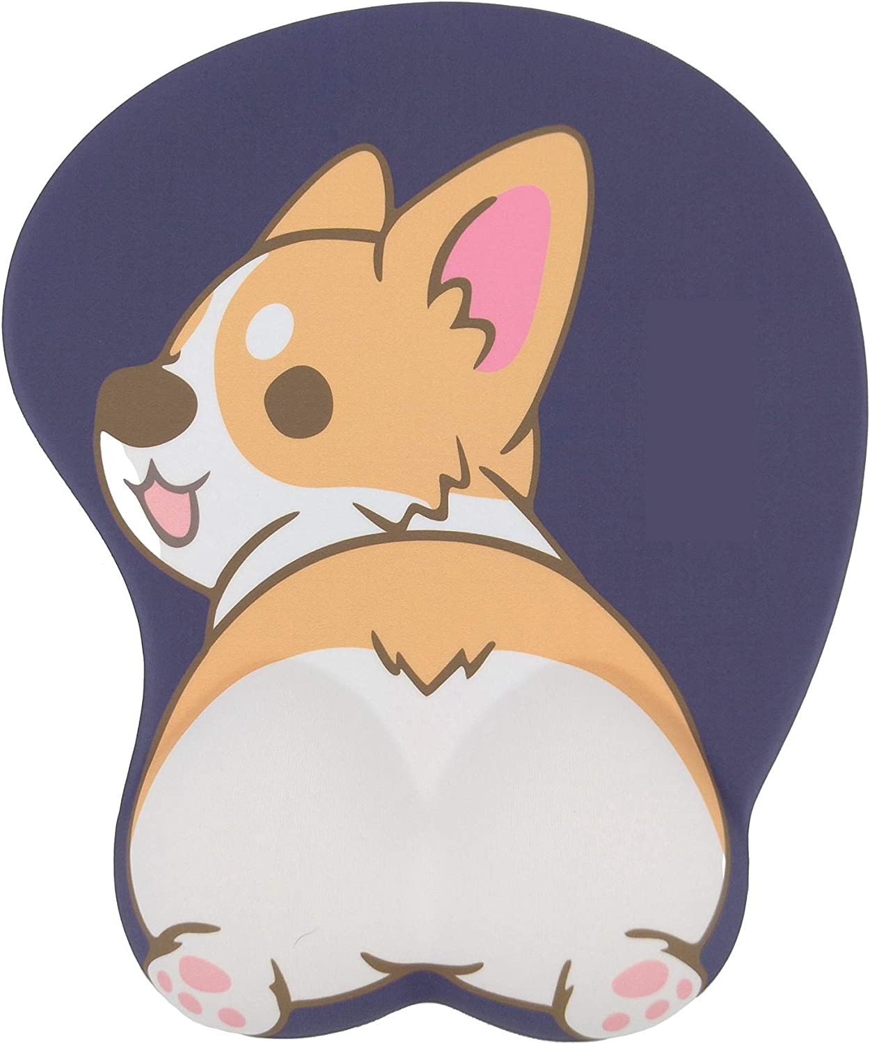 Mouse Pad with Wrist Support 3D Corgi Butt Mousepad Anime Dog Non Slip Silicone Mouse Mat for Desk Laptop (Navy Blue)