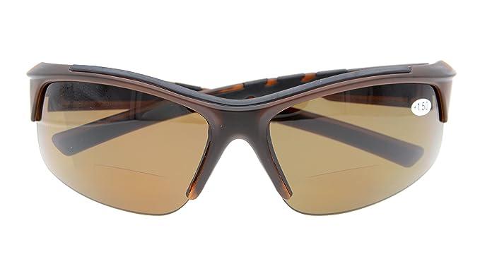 5efb13532b8 Sports Polarized Bifocal Sunglasses Half Rimless Tinted Glasses Wraparound  Designer Style Polarised SUNSHINE READERS Brown Frame