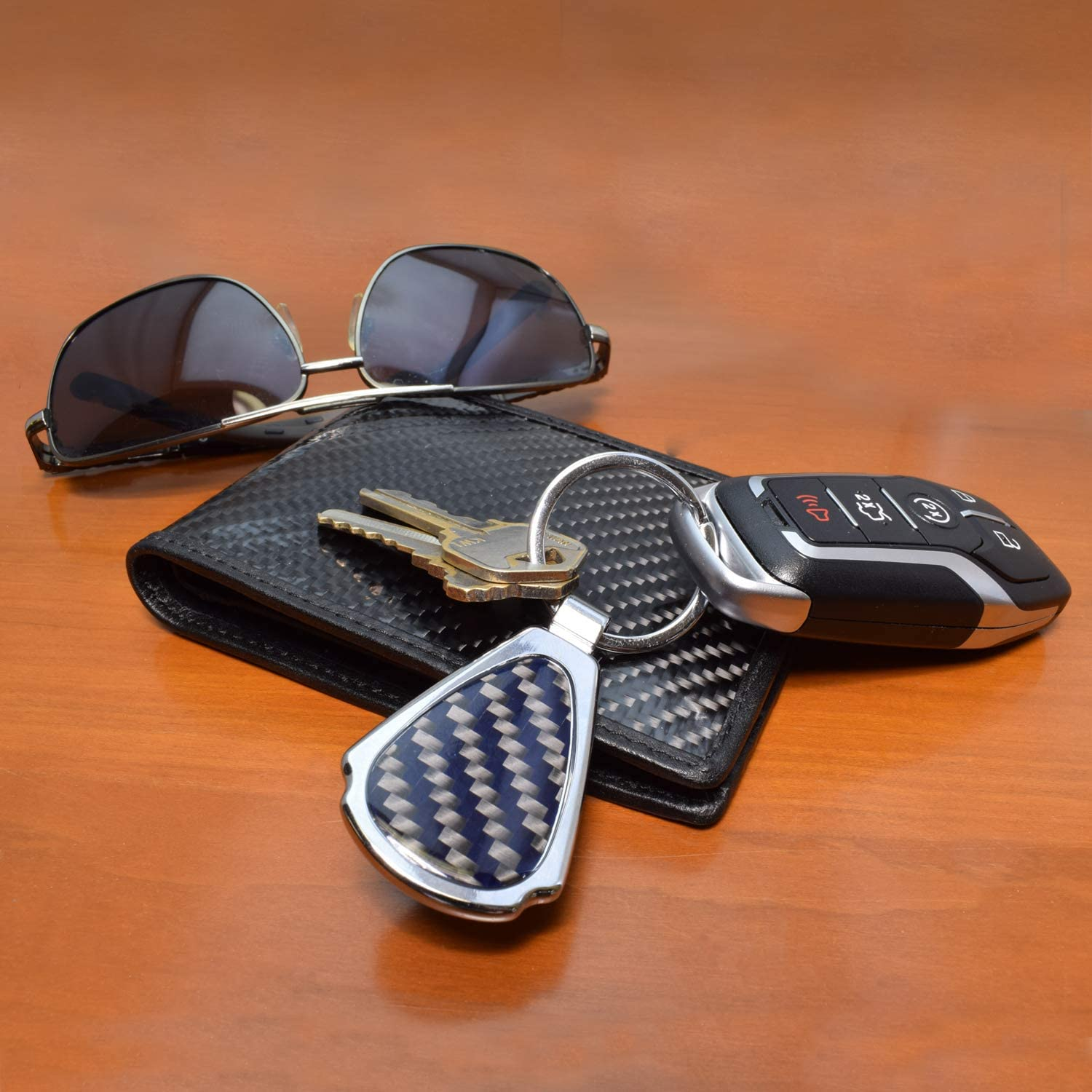 Ford F-150 STX Real Black Carbon Fiber Chrome Metal Teardrop Key Chain iPick Image for