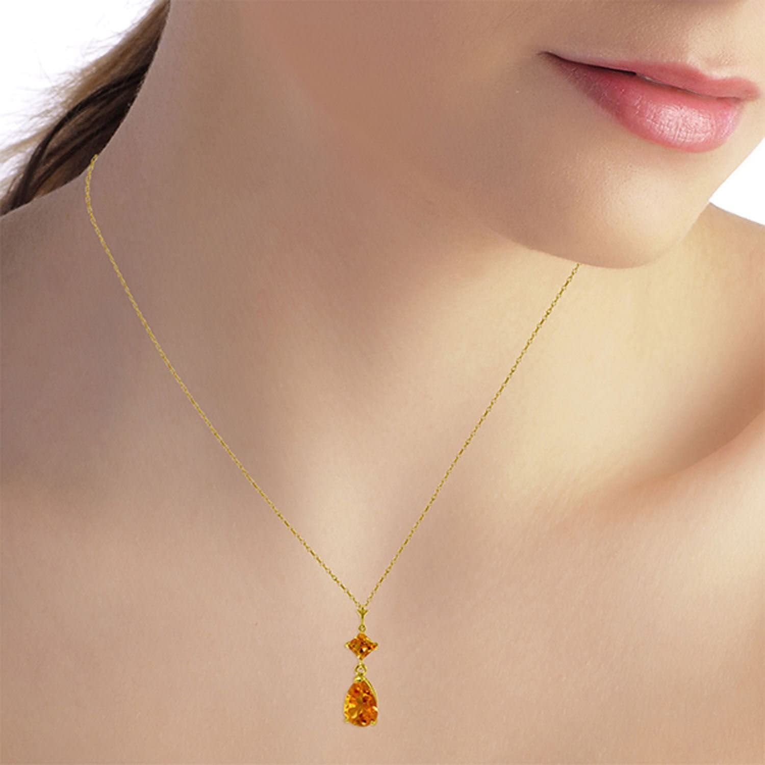 ALARRI 2 Carat 14K Solid Gold Dance Me Citrine Necklace with 22 Inch Chain Length