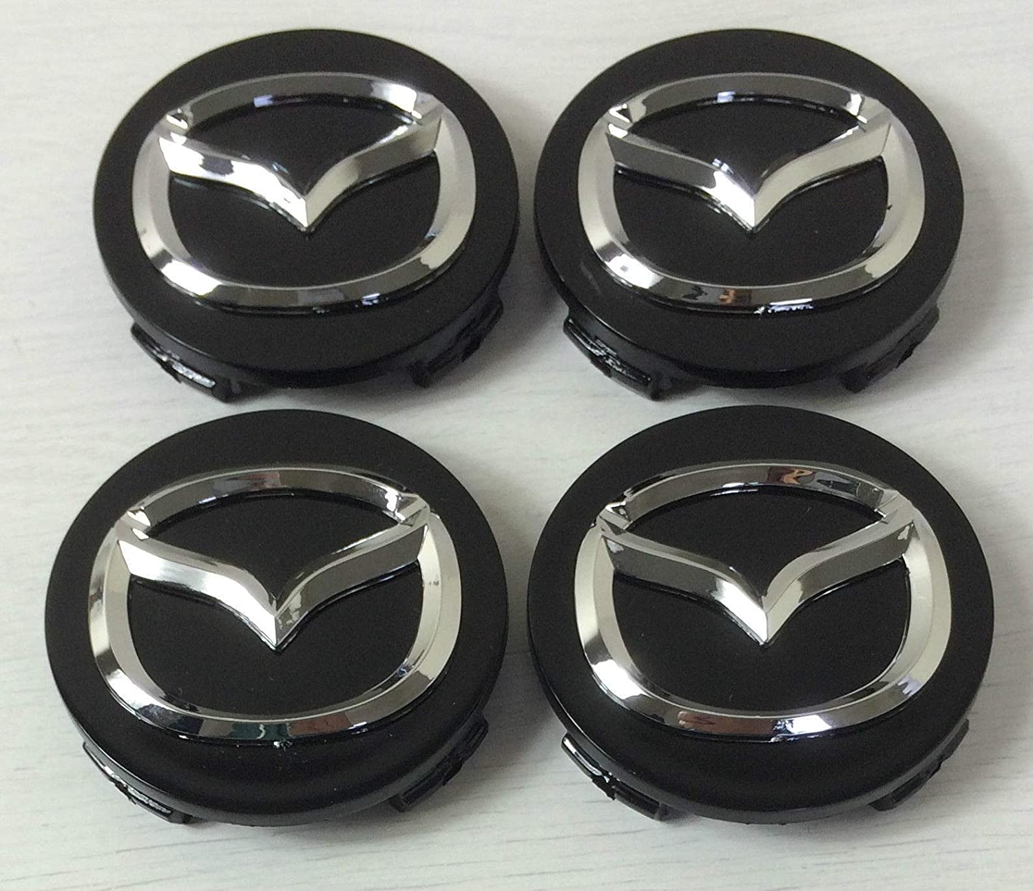 LIBRA Compatible x4 Hubcaps 56mm Chrome for Emblem Badge Hub Centre Caps