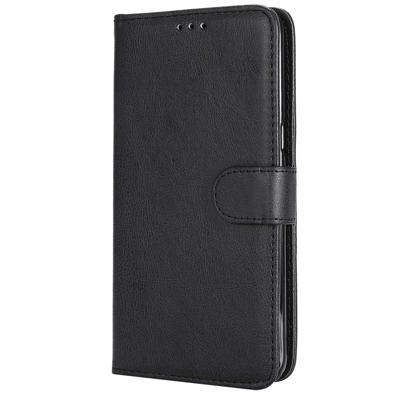 DENDICO Coque Galaxy S6 Edge Plus, Ultra-Mince Flip Etui en Cuir Portefeuille de Protection avec Fonction Support pour Samsung Galaxy S6 Edge Plus - Noir DDCFR13S6EP-2503