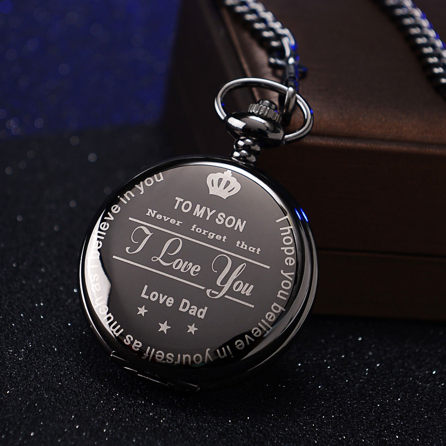 To My Son Love Dad Pocket Watch for Son Gifts from Dad (Love Dad Black Mechanical Pocket Watch) by Ginasy (Image #5)