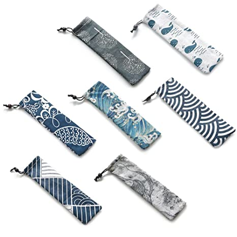 Bolsa de almacenamiento de cubiertos al azar con diseño de Zephyr japonés, bolsa de cubertería