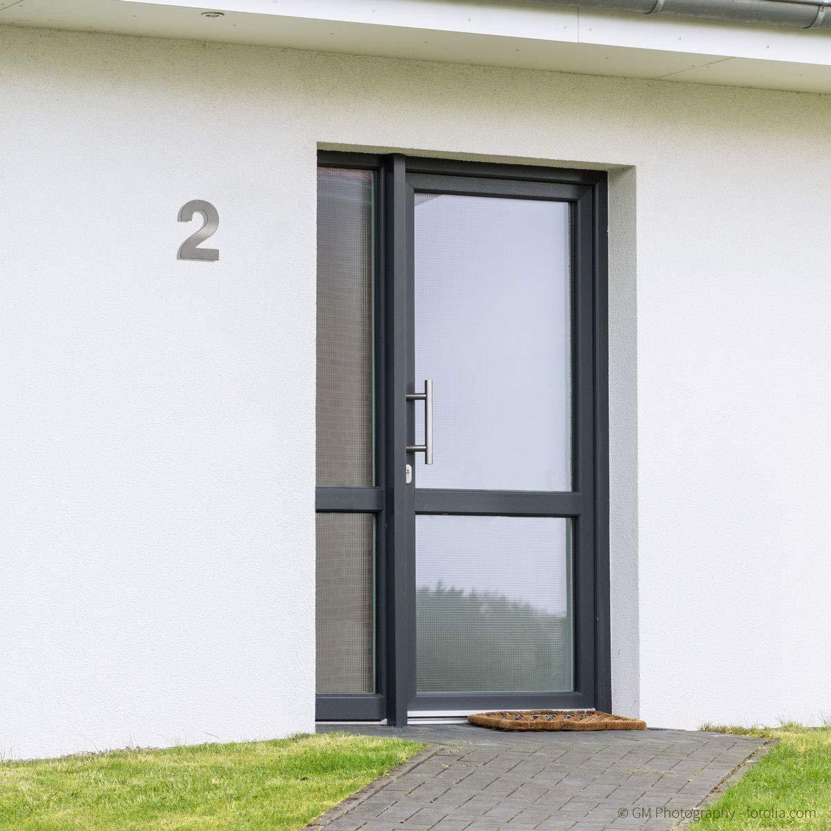 inkl 30cm Thorwa/® Design Edelstahl Hausnummer fein geb/ürstet 5 Montagematerial//H: 300mm // Farbe: silber