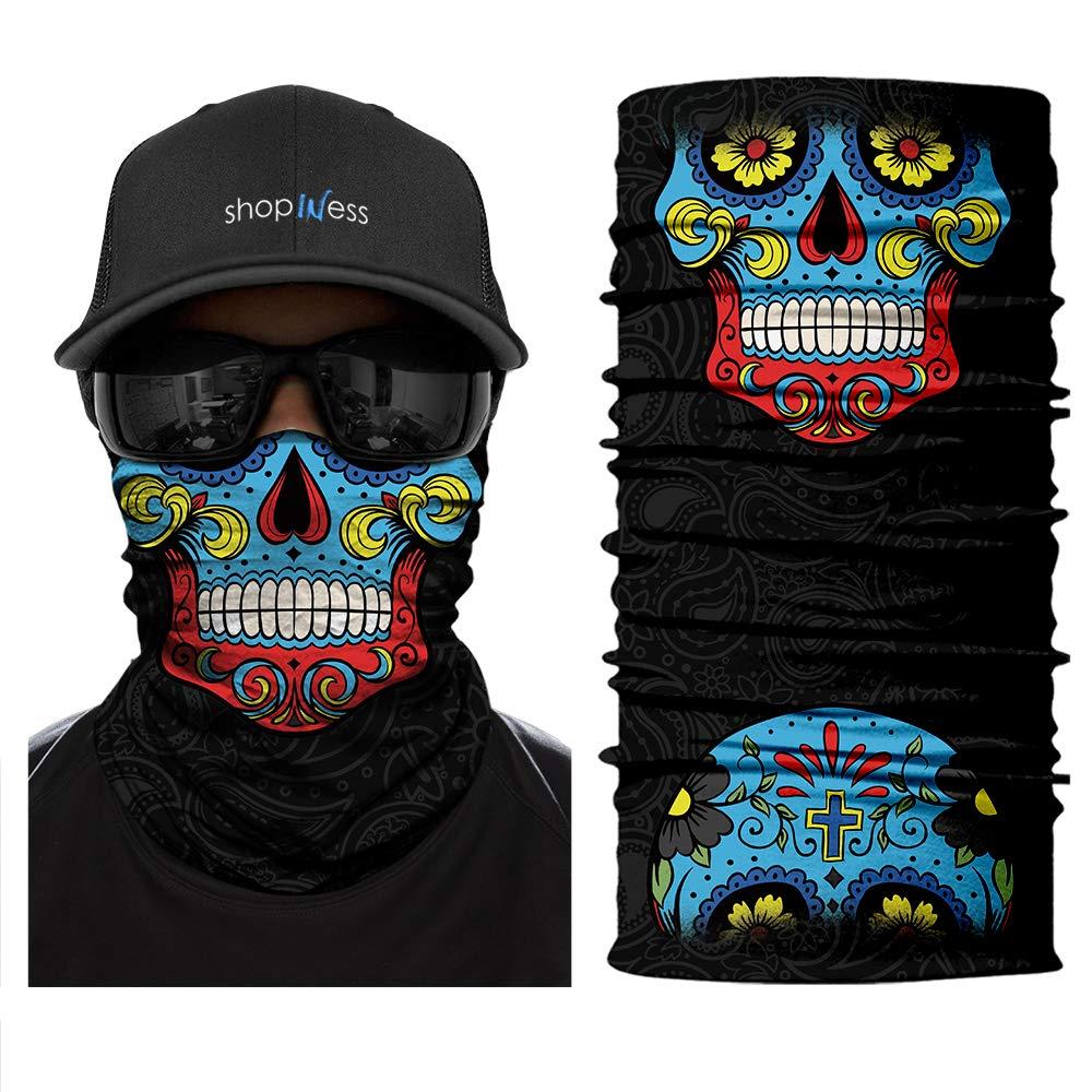 Motif Calavera//t/ête de Mort Mexicaine ShopINess Cache-Cou//Bandana Multifonctions