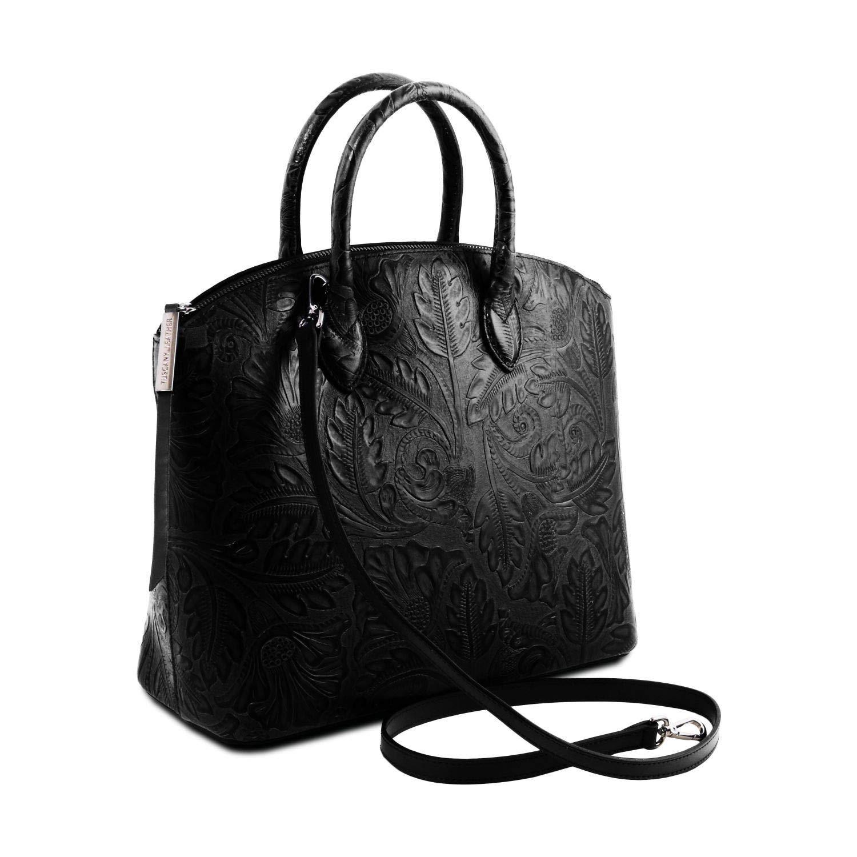 97e80a136f1a7 Tuscany Leather Gaia Shopping Tasche aus Leder mit Blumenmuster Cognac   Amazon.de  Koffer