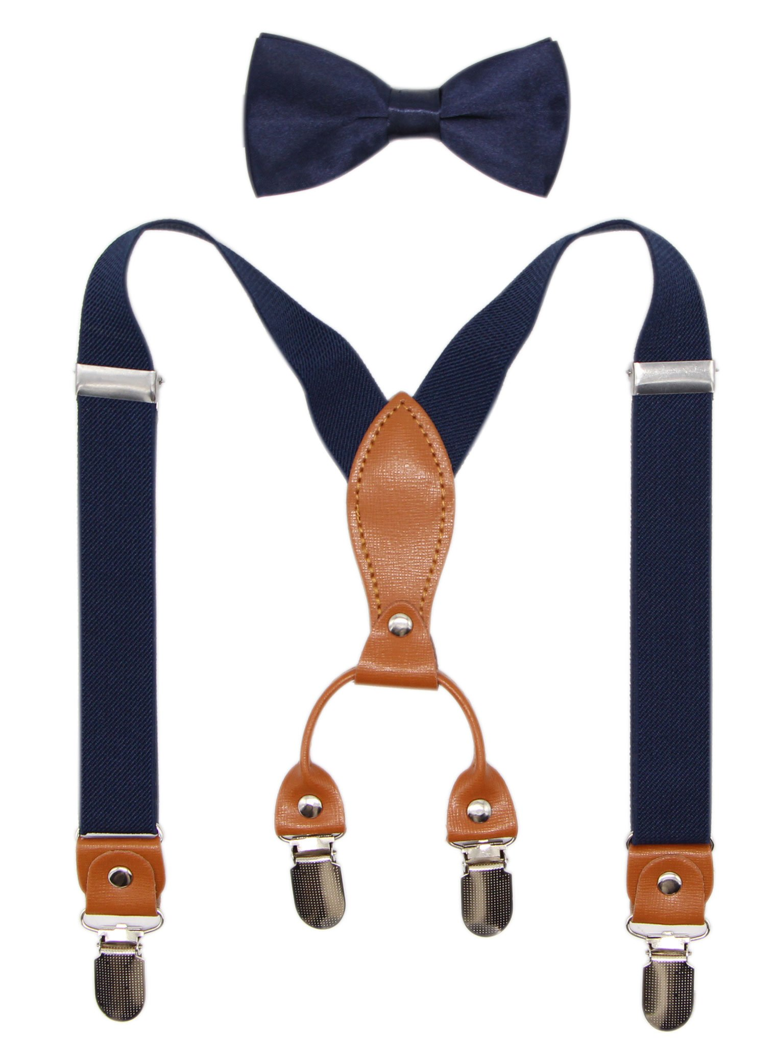 Suspenders & Bowtie Set for Kids and Baby - Adjustable Elastic X-Band Strong Clips Braces (Navy)
