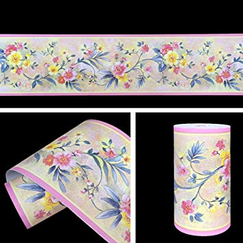 Ordinaire SimpleLife4U Sunmer Flower Removable Vinyl Wallpaper Border Peel U0026 Stick  Wall Borders Kitchen Bathroom Tiles Decor