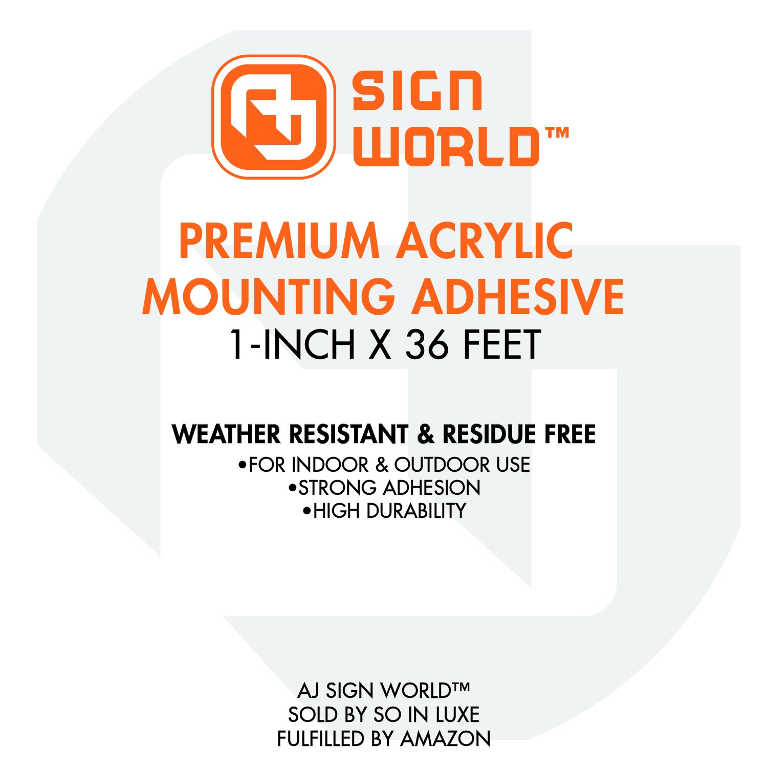 Best 1'' Acrylic Mounting Tape Removable(Residue Free), Heavy Duty, Weather-Resistant, Double Sided (1-inch x 36-Feet) by AJ Sign World (Image #4)
