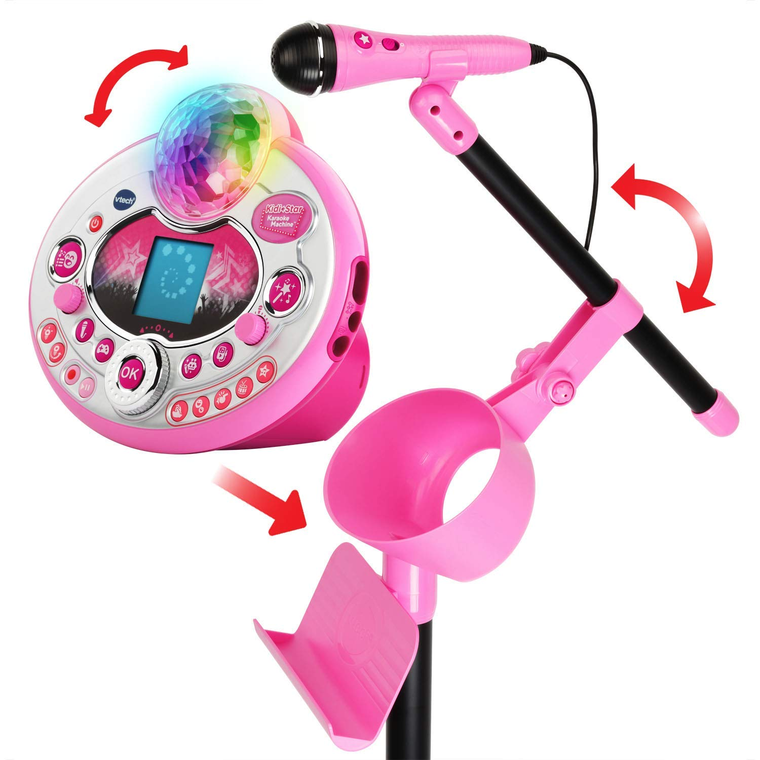 VTech Kidi Star Karaoke System 2 Mics with Mic Stand & AC Adapter, Pink (Renewed) by VTech (Image #2)