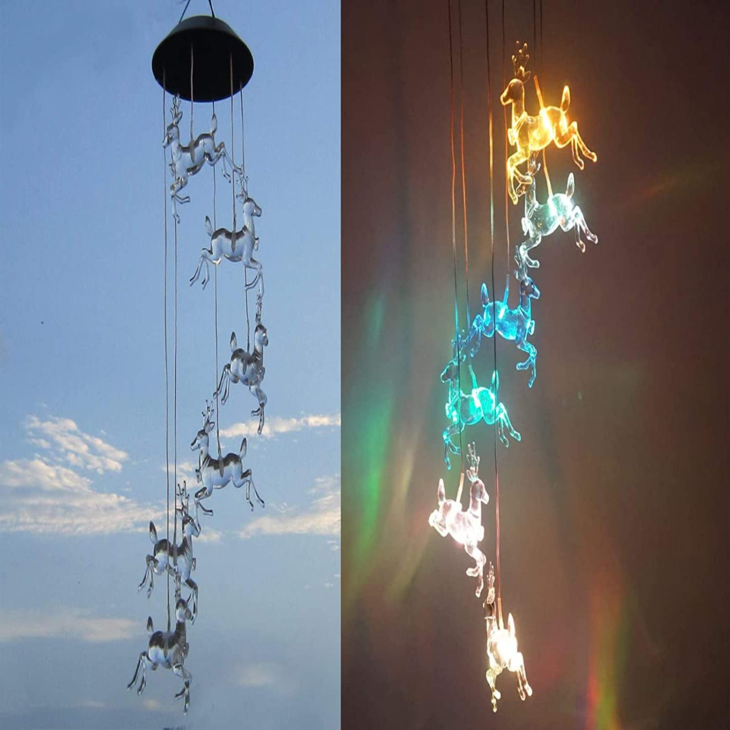 Solar Deer Wind Chimes, Color Changing Waterproof Solar Powered Outdoor Led Light Ornaments for Yard Patio Gargen Balcony