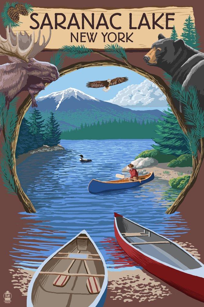 Saranac Lake、ニューヨーク – Adirondacks Canoeシーン 36 x 54 Giclee Print LANT-53783-36x54 36 x 54 Giclee Print  B017EA012K