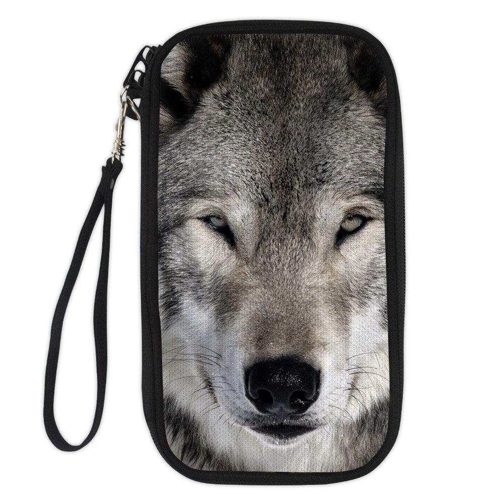 FOR U DESIGNS Cool Wolf Passport Holder Travel Card Case Cover Travel Storage Wallet