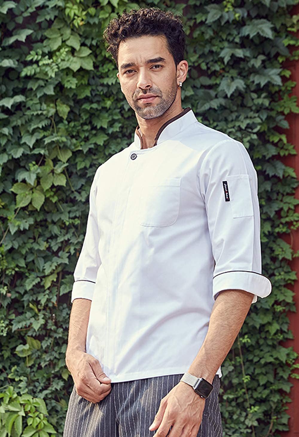 Mens Chef Coat Half Sleeve Concealed Buttons Slim Fit Chef Work Uniform