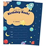 Space Star Galaxy Happy Birthday Invitations Invite Cards (25 Count) with Envelopes and Seal Stickers Boys Girls Kids Party (25ct)