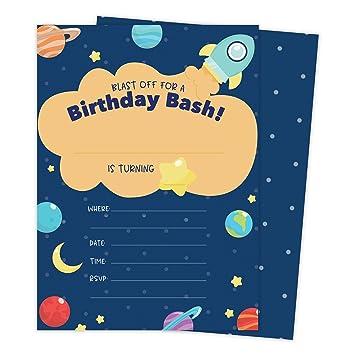 Amazon.com: Space Star Galaxy Happy tarjetas de invitaciones ...
