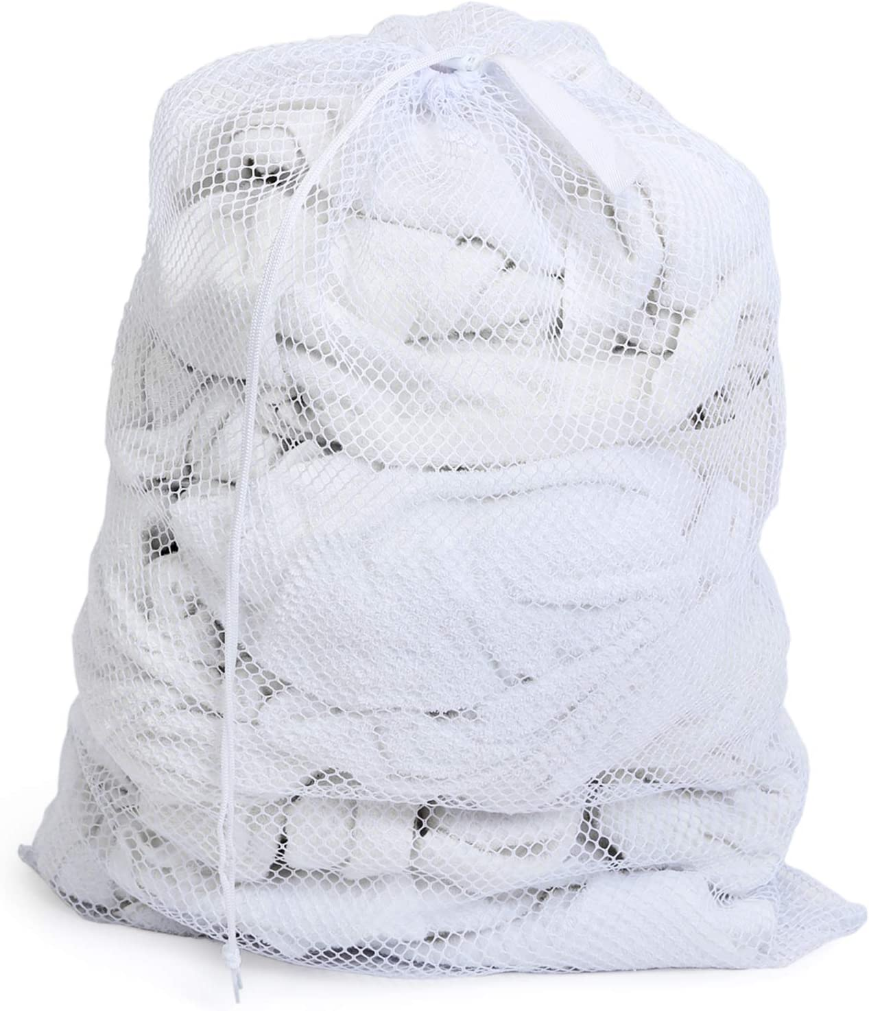Smart Design Heavy Duty Mesh Laundry Bag w/ Push Lock Drawstring - VentilAir Mesh Material - for Clothes & Laundry - Home Organization (Holds 3 Loads) (36 x 24 Inch) [White]