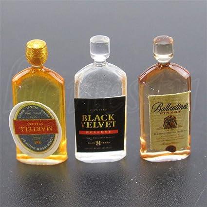 6Pcs Miniature Wine Whiskey Bottles Shop Pub Bar Drink Accs For 1:12 Dollhouse
