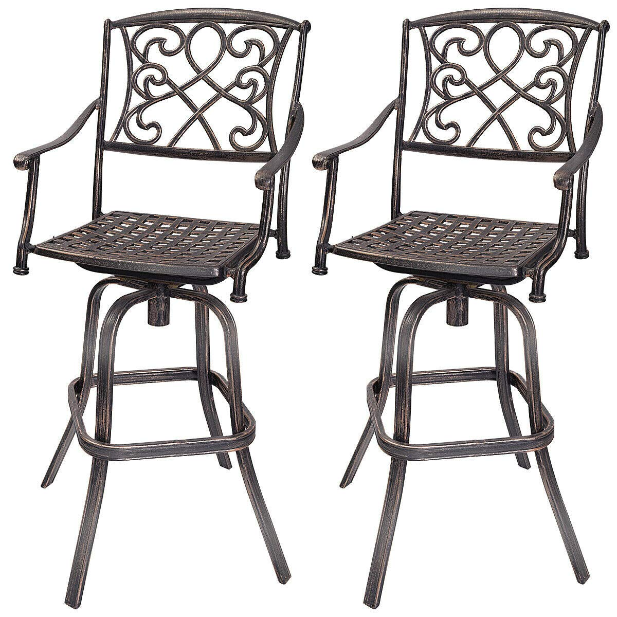 COSTWAY Bar Stool Set of 2, Cast Aluminum Vintage Retro Design Patio Outdoor Garden Bistro Furniture Set (2Copper Bar Stool) by COSTWAY