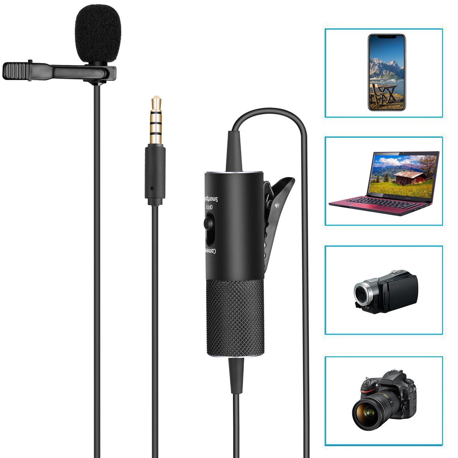 Neewer Dual Lavalier Microphone, Hands Free Clip-on Lapel Microphone with Omni-directional Condenser,3.5mm Interface for DSLR Camera,iPhone,Android,Samsung,Sony,PC,Laptop,224 inches/18.7 feet(NW-955S)