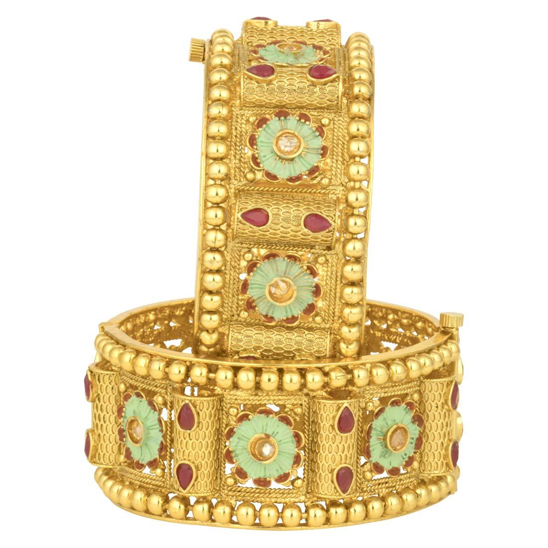 Aheli Wedding Designer Set of 2 Bracelet Bangle Pair Kada Ethnic Bollywood Indian Ethnic Fashion Jewelry for Women