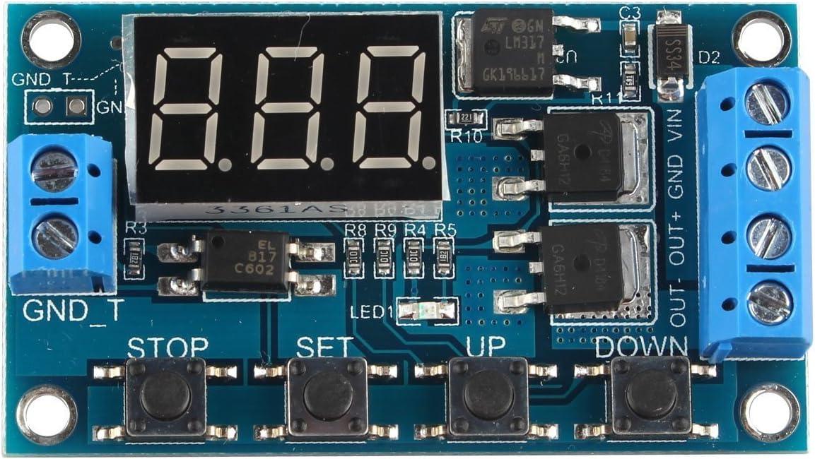DollaTek Ciclo del gatillo Circuito del Interruptor del retardo del Temporizador Placa de Control Doble del Tubo del Mos 24V / 12V Sustitución del módulo del Relais