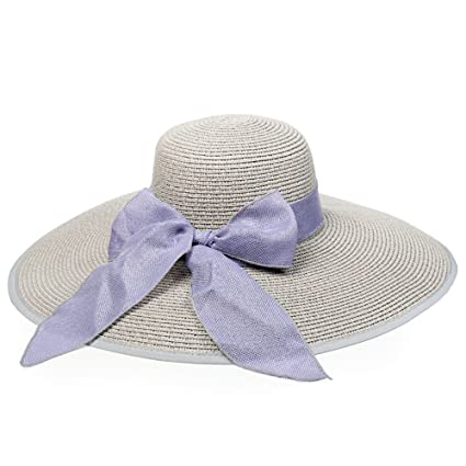 350a89cf Wukong Women Big Bowknot Straw Sun Hat Floppy Foldable Extra Wide Brim UV  Protection 50+