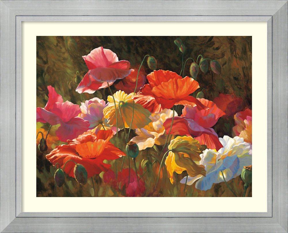 アートフレーム印刷' Poppies in Sunshine ' by Leon Roulette Size: 51 x 41 (Approx), Matted ブラウン 3802769 Size: 51 x 41 (Approx), Matted Romano Silver,mat:white B01L8KN0Q6