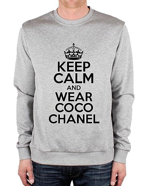 Keep Calm And Wear Coco Chanel Unisex Crewneck - Sudadera gris small: Amazon.es: Ropa y accesorios