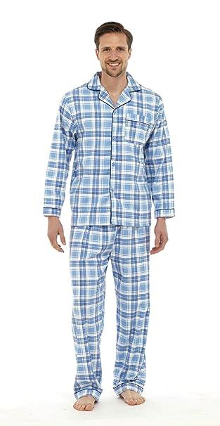 Pijama de franela para hombre, diseño tradicional, ideal como regalo azul azul
