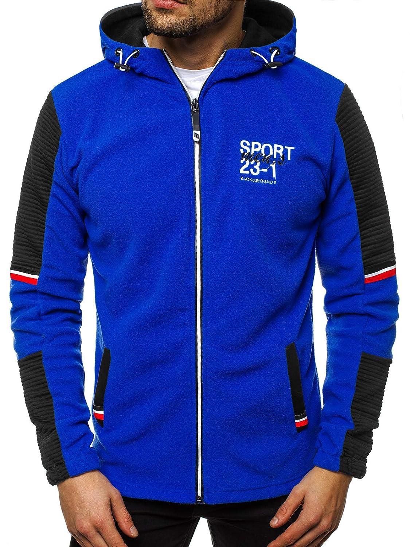 OZONEE Herren Kapuzenpullover Sweatjacke Sweatshirt Langarm Hoodie Sport Style Casual Fitness Training Motiv OZN 68001
