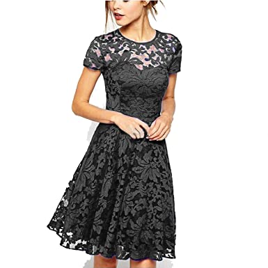 Plus Size Dress Fashion Women Elegant Sweet Hollow Out Lace Dress Sexy Party Princess Slim Summer