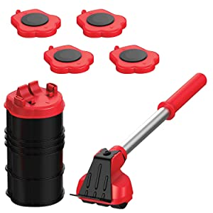 Heavy Duty Furniture Lifter with 4 Sliders for Easy and Safe Moving, Appliance Roller Suitable for Sofas, Couches and Refrigerators, Adjustable Height [Load Capacity: 660lbs per Wheel]